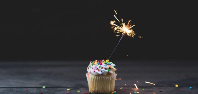 cupcake with a sparkler