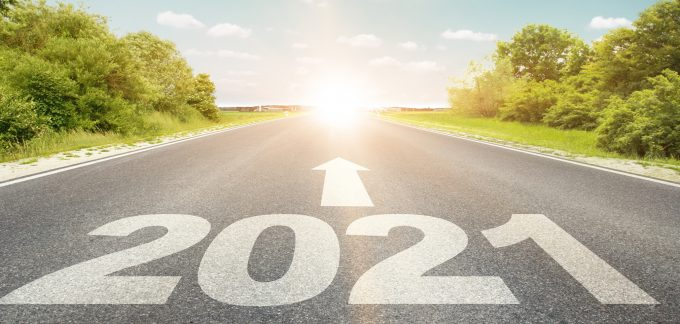 Road with 2021 and an arrow forward
